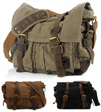 NEW Canvas Leather Satchel Messenger Shoulder School DSLR Camera Bag Backpack UK