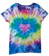 Tye Dye V-Neck Shirt -- Heart Design -- Dyed in the USA Cotton