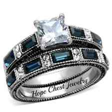 WOMEN'S STAINLESS STEEL PRINCESS CUT BLUE & WHITE CZ WEDDING RING SET SIZE 5 -10