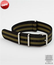 NYLON NATO WATCH STRAP OLIVE BOND, MATTE BRUSHED STAINLESS STEEL