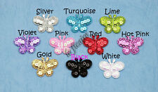 """U PICK ~ 1"""" Padded Satin Sequin Butterfly Appliques Toppers Clips x 60 pcs #2564"""