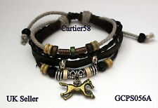 Leather Bracelet with Horse and Horse shoe Charms Friendship Bracelet