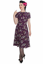 NEW HELL BUNNY AUBERGINE BIRDY 1950S 1940S RETRO VINTAGE PROM PARTY DRESS 8-16