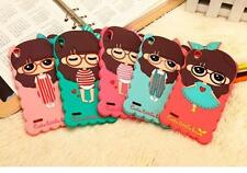 Cute 3D cartoon cover for Huawei Ascend P6/P7 Girl skin soft silicone case shell