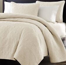 Over-sized 3pc Quilted Coverlet Set Super Soft Microfiber Ivory/White Queen King