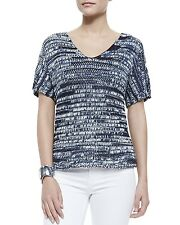 $248 EILEEN FISHER Denim Brushstroke Cotton Tape V Neck S/S Top S M L XL NWT
