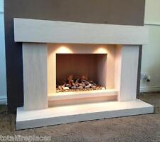 Sensation Limestone Fireplace with Fire - Made in England
