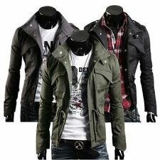 Men's Military Style Fit Slim Stand Collar Coat Jacket Zip Button Hoody Overcoat