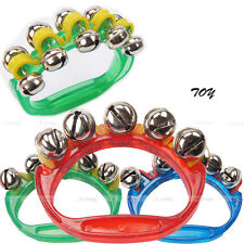 HAND BELLS Jingle Sleigh Percussion Music Kids Instrument Shaker Ratte Toy