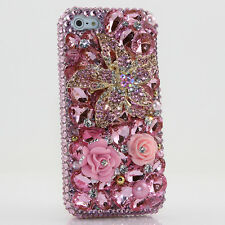 iPhone 6 6S / 6S Plus 5S Bling Crystals Case Cover Baby Pink Flowers Frontplate