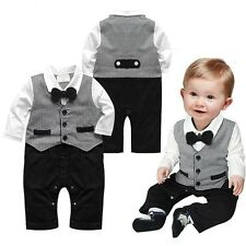 New Baby Boy Formal Tuxedo Long Sleeve One-Piece Romper Suit size 00/0/1/2 FT236