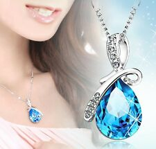Angel Tears Womens 9K White Gold Filled  AAA CZ Crystal Necklace Pendant N86-88