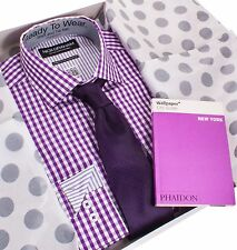 Nick Graham Holiday Gift Set - Purple Gingham Shirt, Tie, and Travel Guide