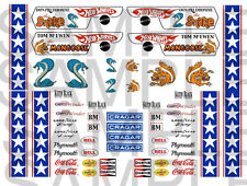 Snake and Mongoose decals water slide 1:64 scale decal sheet 1/64 #26 Hot Wheels
