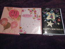 21st Birthday Cards - Male Female Choice of 4 Good Quality Cards