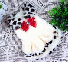Good Warm small pet dog clothes Princess Leopard Red Bowtie Dress For Girl Dog