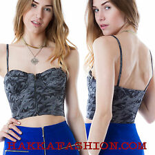 Nana Judy Cropped Bustier With Zip Fastening Print Padded Cups Croptop  XS,S,M,L