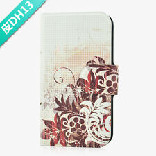 New arrive brown Flower and leaf flip PU leather case cover for Samsung Mobile