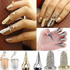 Newest Jewellery Womens Vintage Punk Charms Nail Set Fake Nail Art Finger Ring