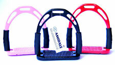 FLEXI JINN STIRRUPS HORSE RIDING NEW DESIGN RED, PINK, BLACK WITH KEY RING