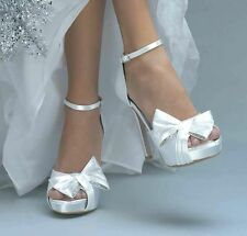 "Dyeable White Satin Bow Rhinestone Jay Bridal Prom 4"" High Heel Platform Shoe"