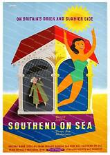 Southend on sea  , Vintage seaside travel poster reproduction.