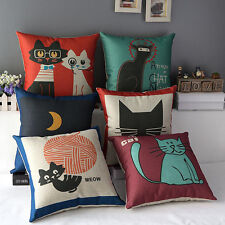 Funny Cats Cotton&Linen Decorative Throw Sofa Bed Cushion Cover Pillow Case 17''