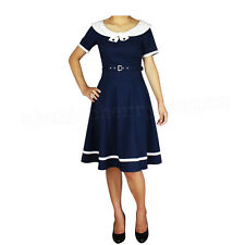 Sailor Swing Dress Rockabilly Pin Up Costume Retro Vintage Cotton Kustom