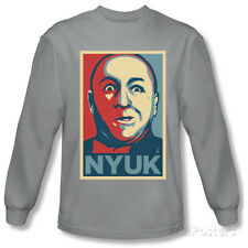 Long Sleeve: The Three Stooges - Nyuk T-Shirt Silver