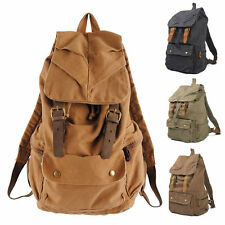 New Vintage Retro Canvas & Leather Backpack Rucksack School Laptop Duffle Bag UK