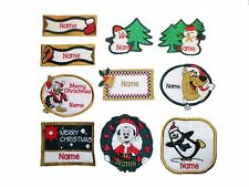 Embroidered Personalised Christmas Sew on/Iron on/Sticker name badge patch