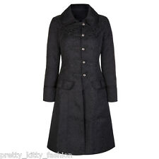 VICTORIAN BLACK FLOCK SWALLOWS TATTOO GOTH STEAMPUNK EMO COAT JACKET SIZE 8-26