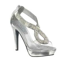 Silver Clear Rhinestone Serena Pageant Prom High Heel Platform Sandal Shoe