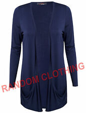 Womens Plain Drop Pockets BoyFriend Open Front Cardigan Casual Top Plus Sizes