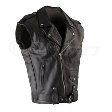 Leather Vest, Biker Vest Brando Motorcycle Vest New XS - 6XL