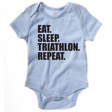 EAT SLEEP TRIATHLON REPEAT - Swim / Bike / Run / Funny Themed Baby Grow/Suit