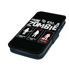 How to Kill a Zombie Printed Faux Leather Flip Phone Cover Case