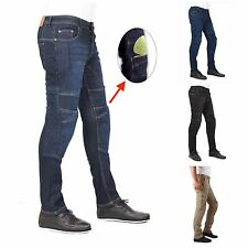 Mens motorbike motorcycle Denim Skinny  jeans Trousers with protective lining