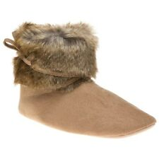 New Womens Ruby And Ed Natural Tan Fur Tie Leg Boot Textile Slippers Pull On
