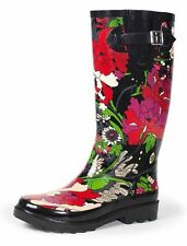 New SAK ROOTS RUBBER FUR LINED BLACK & FLORAL PRINT BOOT You Pick Size