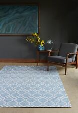 Plantation Medina Duck Egg Blue White 02 Luxury Rug in two sizes From £125