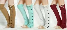 Knee High Lace Button Knit Crochet Leg Warmers Boot Socks Leggings U.S. SELLER