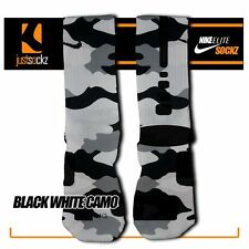 BLACK WHITE CAMO Custom Nike Elite Socks basketball camo black white