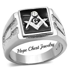 MEN'S SILVER TONE ENAMEL STAINLESS STEEL CRYSTAL MASONIC RING - SIZE 8 - 13