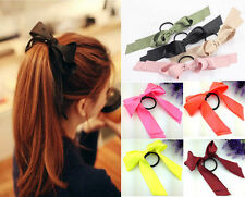 Cute Women Multicolor Satin Ribbon Bow Hair Band Rope Scrunchie Ponytail Holder