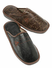 MENS DUNLOP LUXURY FAUX LEATHER SLIP ON MULE CASUAL SLIPPERS SANDALS SHOE SIZE