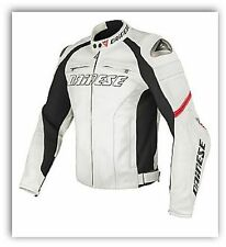 Giacca moto in pelle Dainese Racing C2 Estivo Bianco