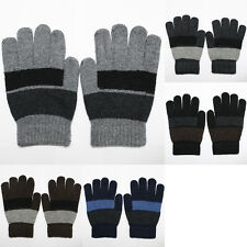 One Size Fit Most Casual Knit/Wool Winter Gloves Fashion Solid/Striped Black New