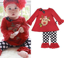 Hot 2pcs Baby Girls Clothes Kids Christmas Sets T-Shirt+Pants Outfits For 1-5 Y