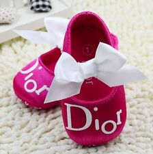 Baby Girls 'Baby Dior' Hot Pink Satin Ballet Summer Shoes ..